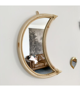 Miroir Lune en rotin